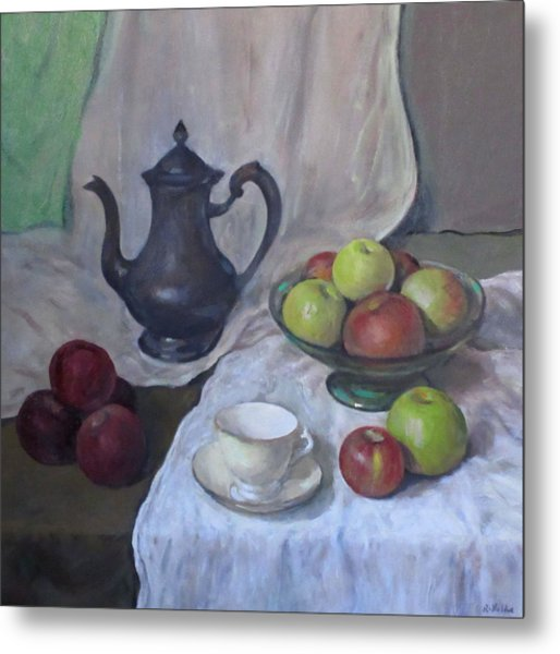 Silver Coffeepot, Apples, Green Footed Bowl, Teacup, Saucer Metal Print