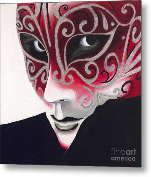 Silver Flair Mask Metal Print