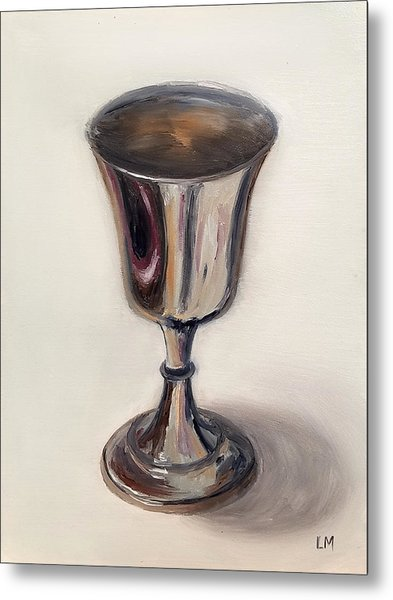 Metal Print featuring the painting Silver Goblet by Linda Merchant