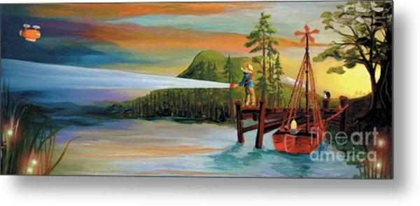 Metal Print featuring the painting Silver Lake by Donna Hall