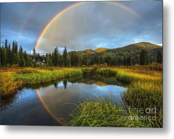 Silver Lake Rainbow Metal Print
