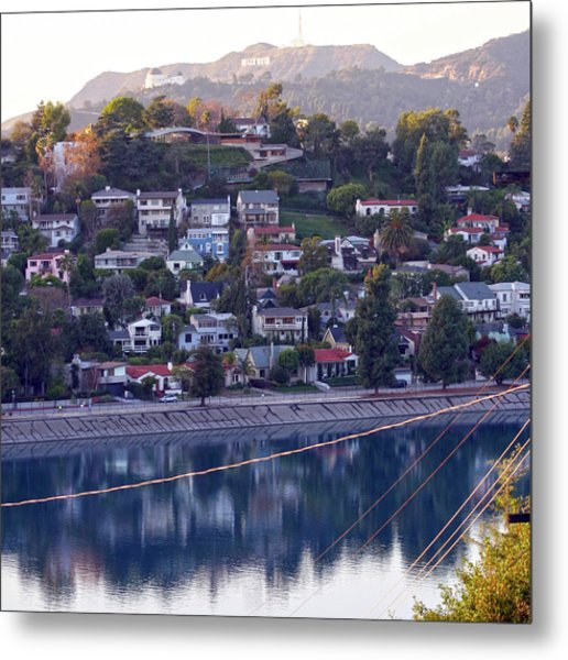 Silver Lake Reservoir With Griffith Observatory And Hollywood Sign Metal Print