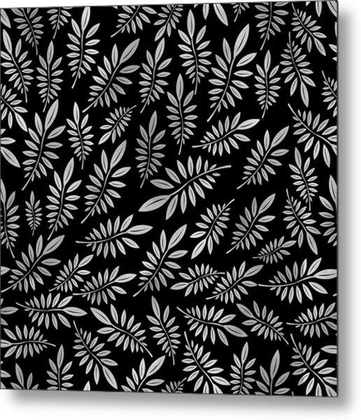 Silver Leaf Pattern 2 Metal Print