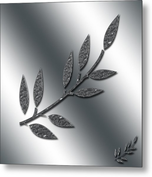 Silver Leaves Abstract Metal Print