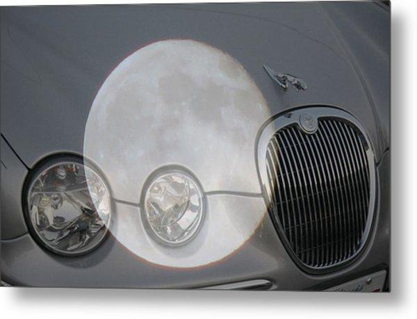 Silver Moon Jaguar Metal Print by J R   Seymour