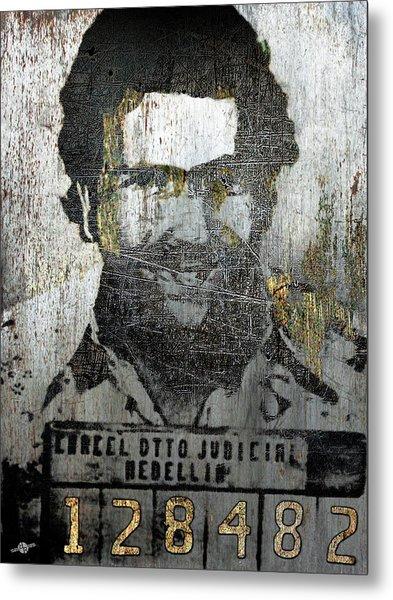 Silver Pablo Escobar Mug Shot 1991 Abstract Metal Print