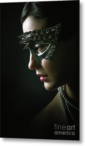 Metal Print featuring the photograph Silver Spike Eye Mask by Dimitar Hristov