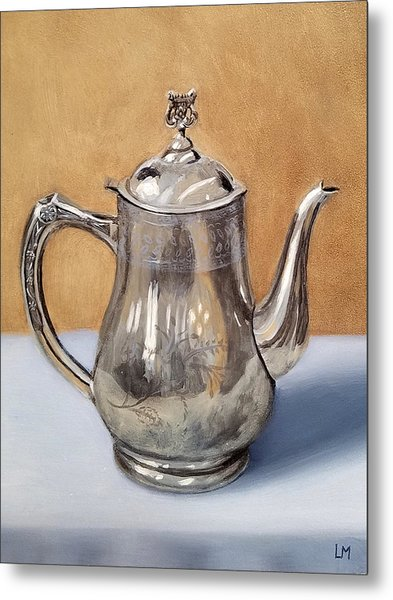 Metal Print featuring the painting Silver Teapot by Linda Merchant