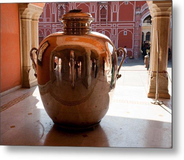 Silver Water Urn Jaipur Metal Print
