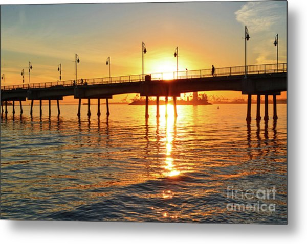Sily Sunset At The Pier Metal Print