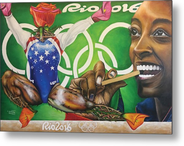 Simone Biles The Golden Rose Metal Print