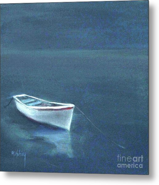 Simple Serenity - Lone Boat Metal Print