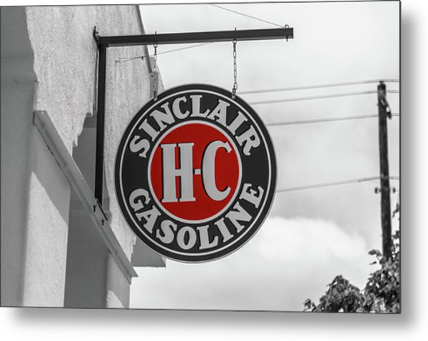 Metal Print featuring the photograph Sinclair Gasoline Round Sign In Selective Color by Doug Camara