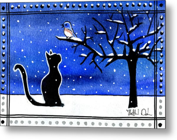 Sing For Me - Black Cat Card Metal Print