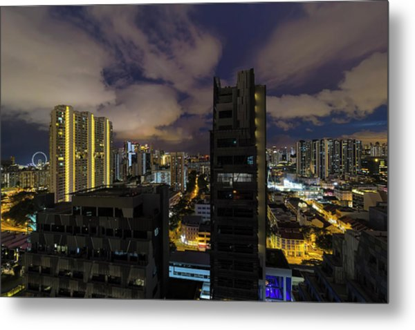 Singapore Cityscape On A Cloudy Night Metal Print