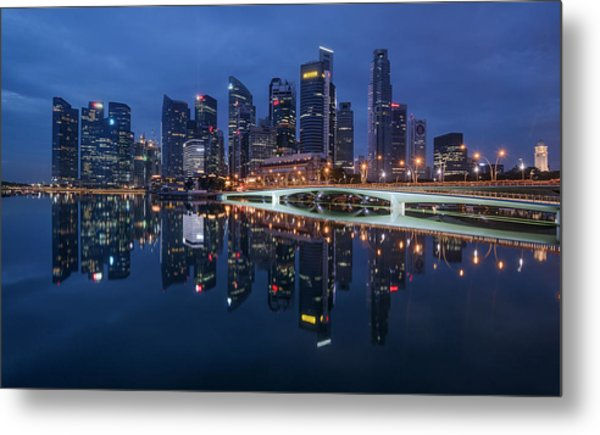 Metal Print featuring the photograph Singapore Skyline Reflection by Pradeep Raja Prints