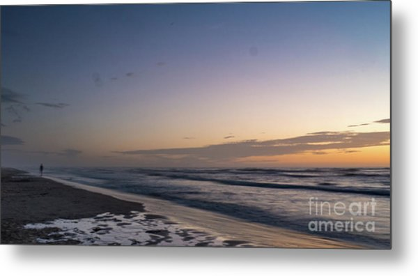 Single Man Walking On Beach With Sunset In The Background Metal Print