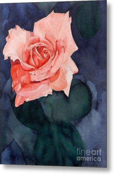 Watercolor Of A Magic Bright Single Red Rose Metal Print