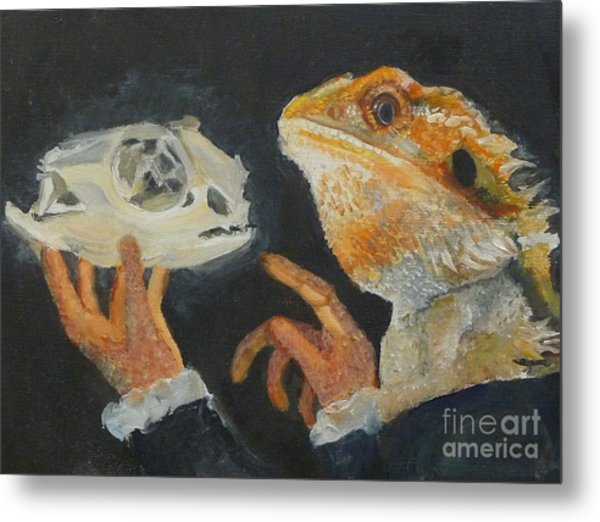 Sir Bearded-dragon As Hamlet Metal Print