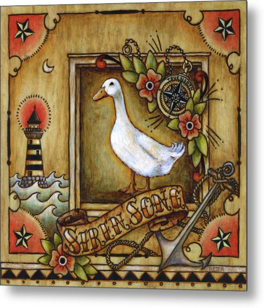 Metal Print featuring the painting Siren Song Aka Ducking In For A Tattoo by Retta Stephenson