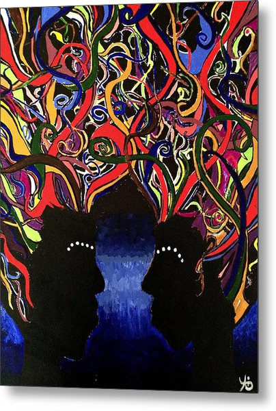 Sis The Twins - Abstract Silhouette Painting - Sisterhood - Abstract Painting  Metal Print