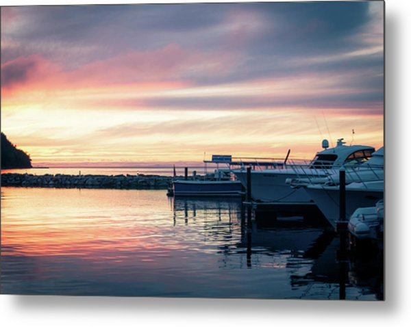Sister Bay Marina At Sunset Metal Print