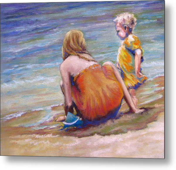 Sisters Enjoy The Shore Metal Print by Carole Haslock
