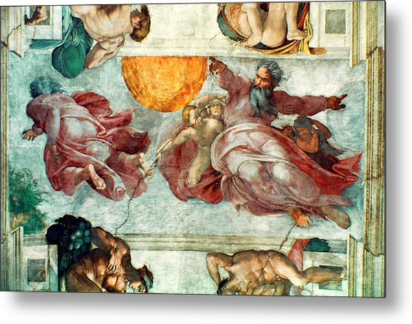 Sistine Chapel Ceiling Creation Of The Sun And Moon Metal Print