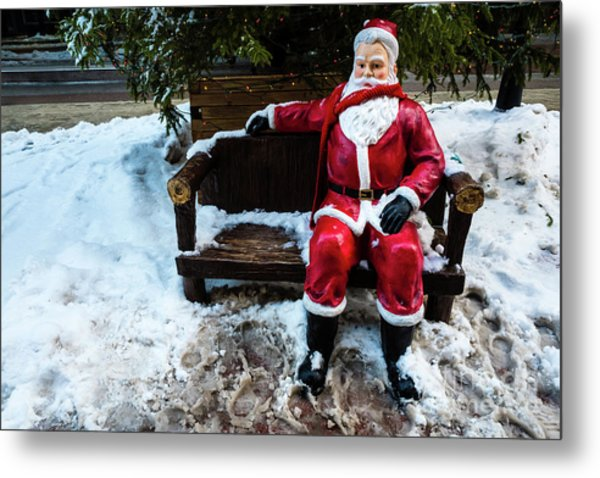 Sit With Santa Metal Print