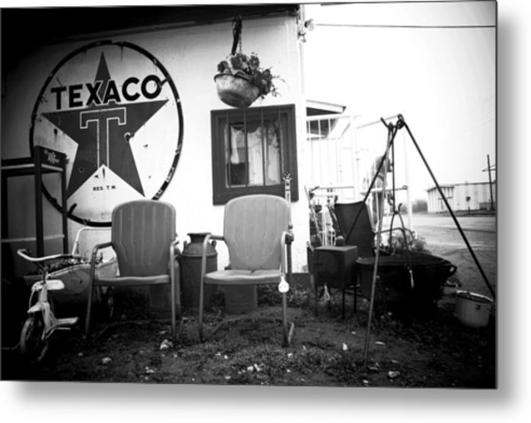 Sitting At The Texaco Black And White Metal Print