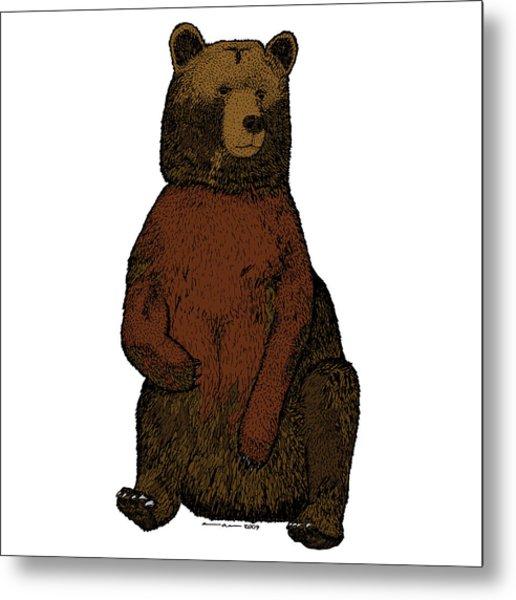 Sitting Bear - Full Color Metal Print by Karl Addison
