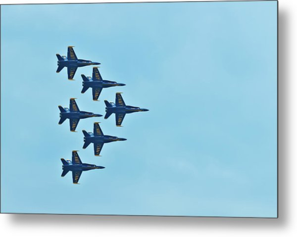 Six Blue Angels In The Clear Blue Sky Metal Print