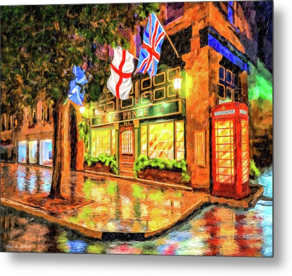 Six Pence Pub - Savannah In The Rain Metal Print