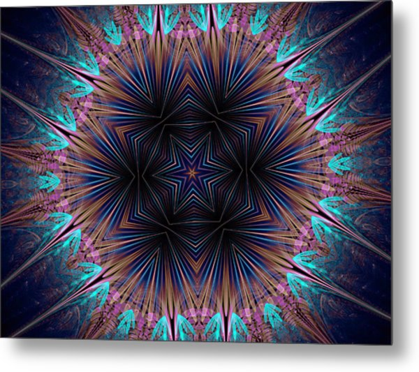 Six Petal Star Kaleidoscope Metal Print