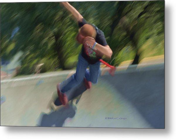 Skateboard Action Metal Print