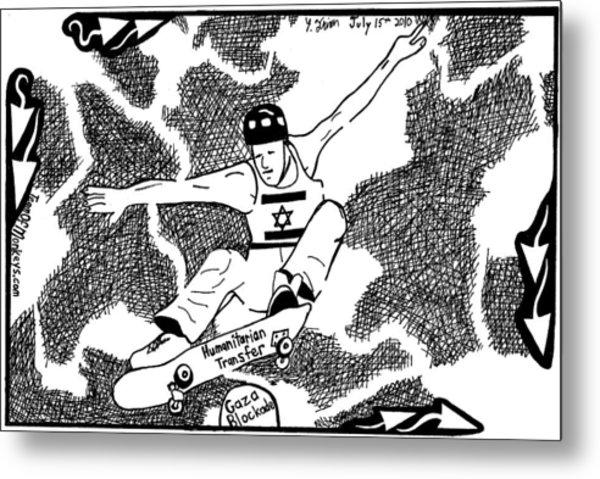 Skateboard Political Maze Cartoon By Yonatan Frimer Metal Print by Yonatan Frimer Maze Artist