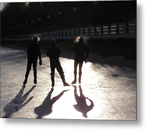 Skating The Canal Metal Print by Richard Mitchell