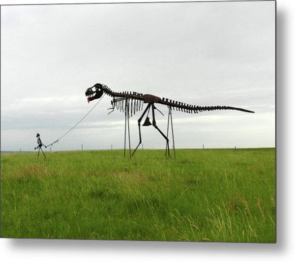 Skeletal Man Walking His Dinosaur Statue Metal Print