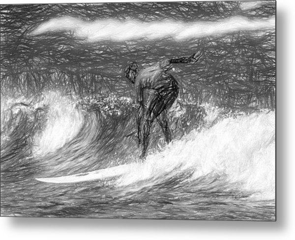 Sketch A Wave Metal Print