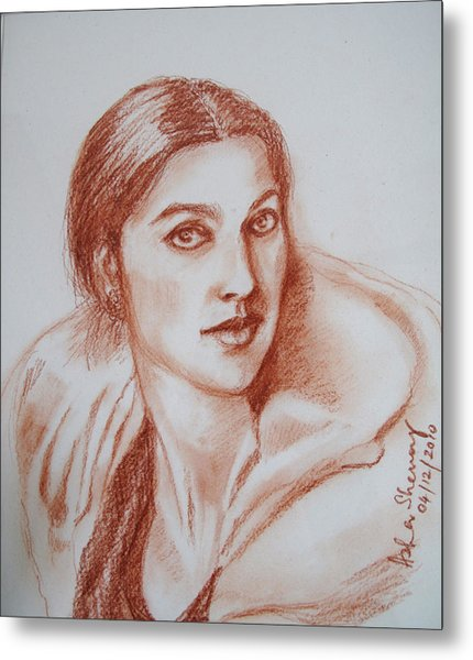 Sketch In Conte Crayon Metal Print