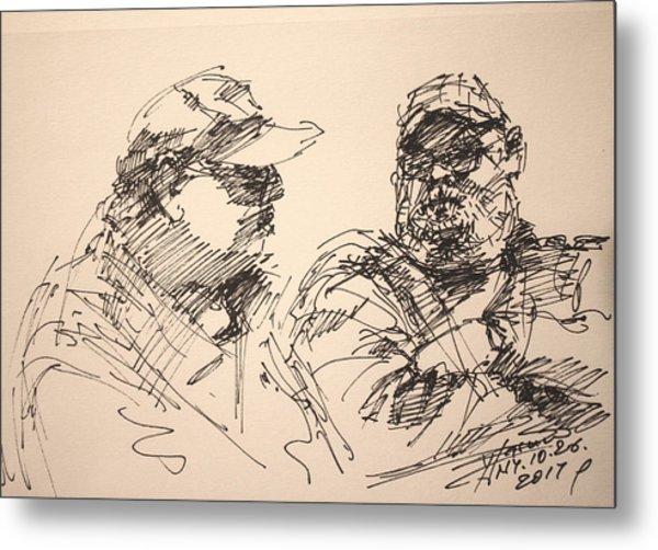 Sketch Men At Tims Metal Print