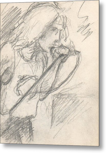 Sketch Of Robert Plant Metal Print by T Ezell