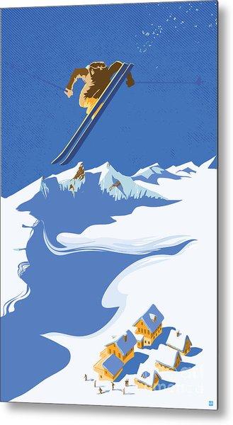 Sky Skier Metal Print
