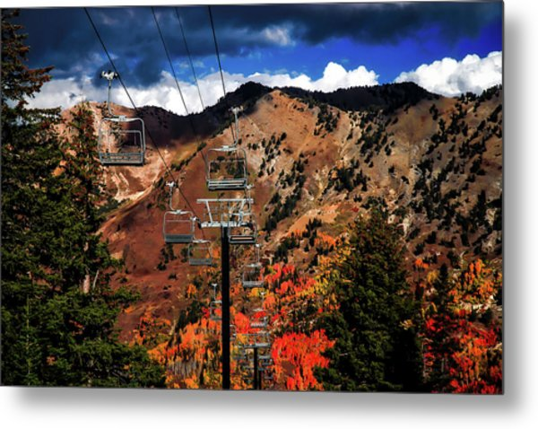 Ski Slope In Autumn Metal Print