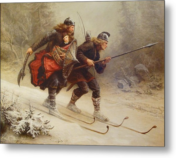 Skiing Birchlegs Crossing The Mountain With The Royal Child Metal Print