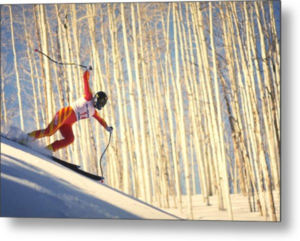 Skiing In Aspen, Colorado Metal Print