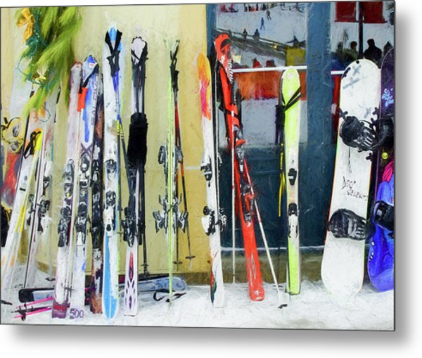 Metal Print featuring the photograph Skis By The Window. by Rob Huntley