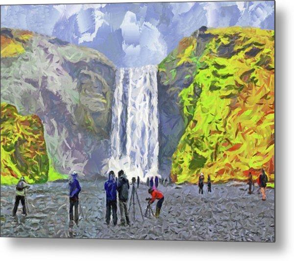 Metal Print featuring the digital art Skogafoss Waterfall by Digital Photographic Arts