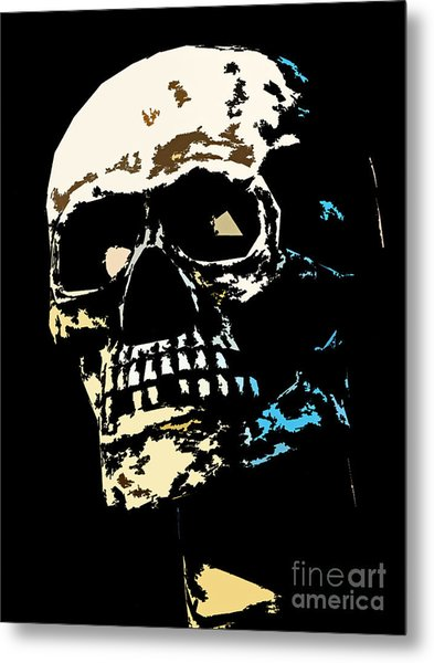 Skull Against A Dark Background Metal Print