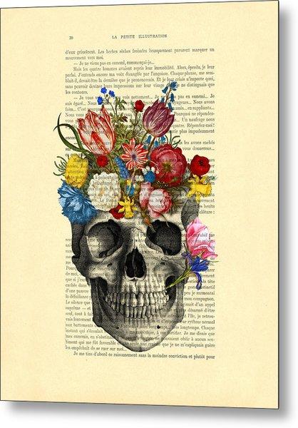 Skull With Flowers Vintage Illustration Metal Print